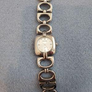 Fossil Ladies Silver Round Link Bracelet Watch